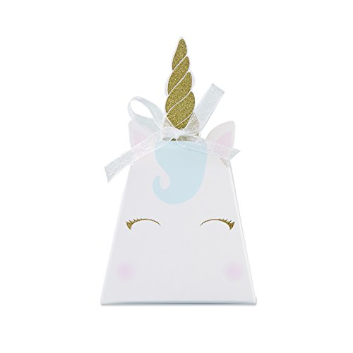 (Kate Aspen Unicorn Fantasy Party Favor Box (Set of 12), Cardstock, One Size, White, Gold, Pink And Blue)