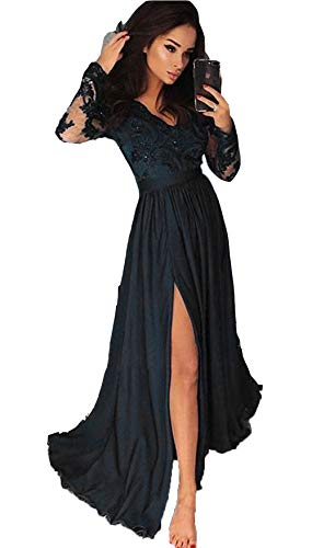 Miao Duo Women's Side High Split Long Lace Applique Celebrity Dresses with Long Sleeves Maxi Wedding Formal Party Gowns Black 20W