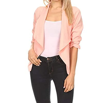 Women's Stretch 3/4 Gathered Sleeve Open Blazer Jacket at Women's Clothing store