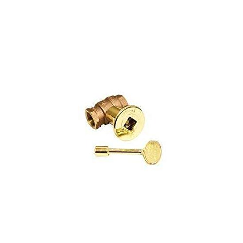 Hearth Products Controls (HPC 3/4-Inch Straight Gas Fire Pit Shut Off Valve Kit (MSBB-HC), Polished Brass Flange and - Key Brass Gas