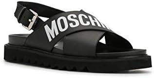 Moschino Luxury Fashion Herren MB16055G1AGA000A Schwarz Leder Sandalen   Frühling Sommer 20