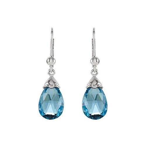 Swiss Blue Topaz Briolette & 14k White Gold Lever Back Earrings ()