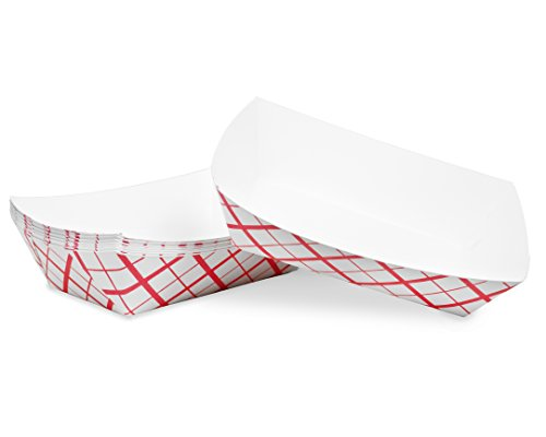 Extra Large (3 Lb.) Red Plaid Paper Food Tray | 25 Ct
