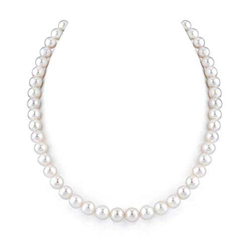 (Natural A+ Quality Round White Cultured Freshwater Pearl Necklace for Women 18 inch Great Gift)