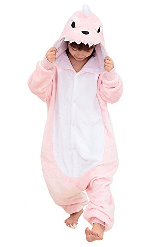 [Children's Pajamas Animal Costume Onesie Kids Sleeping Wear homewear Cosplay Pink Dinosaur L] (Hippo Costume 5t)