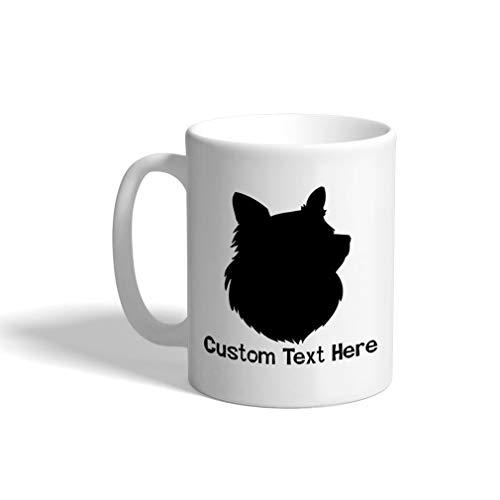 Mug Coffee Cup Shetland Sheepdog Silhouette White Ceramic Tea Cup 11 OZ Personalized Text Here ()
