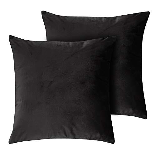 Deconovo Decorative Euro Square Throw Pillowcases Handmade Luxury Velvet Smooth Sofa Cushion Covers for Couch Black 18x18 Inch Set of 2 (Throw Black Pillows Velvet)