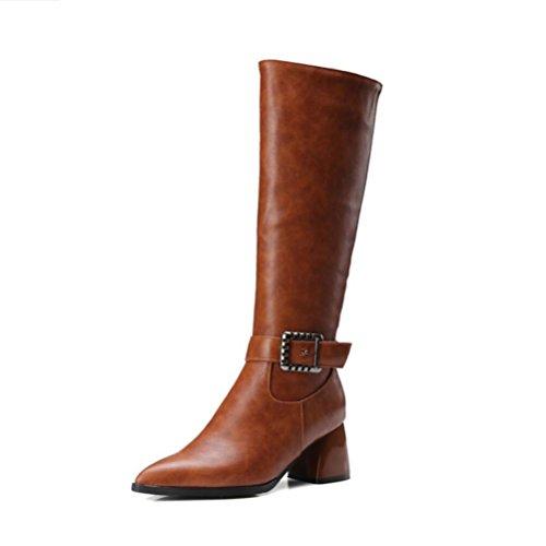 Ei&iLI Hiver Malorie bouton haut Fashion femmes bottes en similicuir extérieur / occasionnel , brown , 33