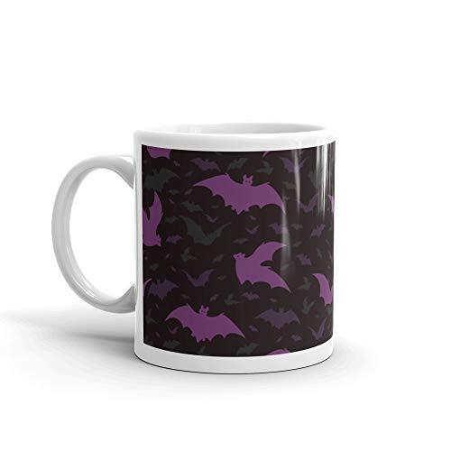 Flying Purple Halloween Bats Vector Pattern 11 Oz