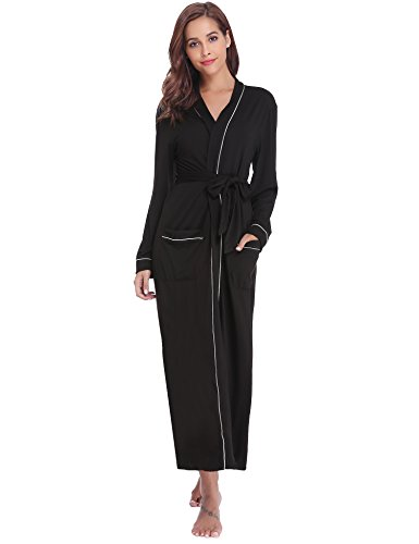 Aibrou Women's Cotton Knit Long Kimono Robe Spa Bathrobe Soft Sleepwear (Black, Large) -