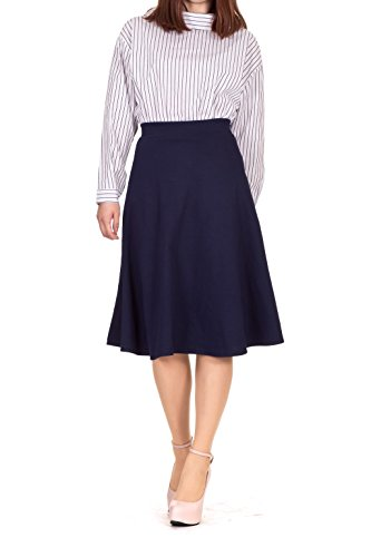Everyday High Waist A-line Flared Skater Midi Skirt (M, Navy)