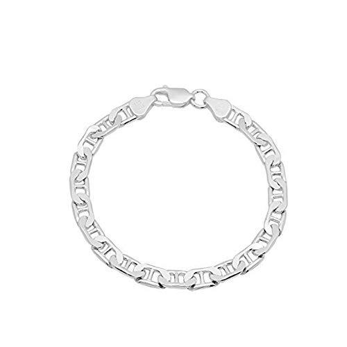 Sterling Silver Flat Mariner Link Chain Bracelet- Thick Silver Link Bracelets 8inch (7MM)