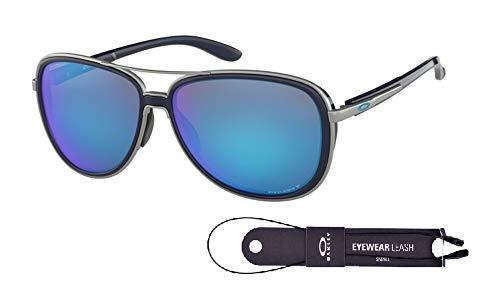 Oakley Split Time OO4129 412907 58M Navy/Prizm Sapphire Polarized Sunglasses For Men For Women+BUNDLE with Oakley Accessory Leash ()