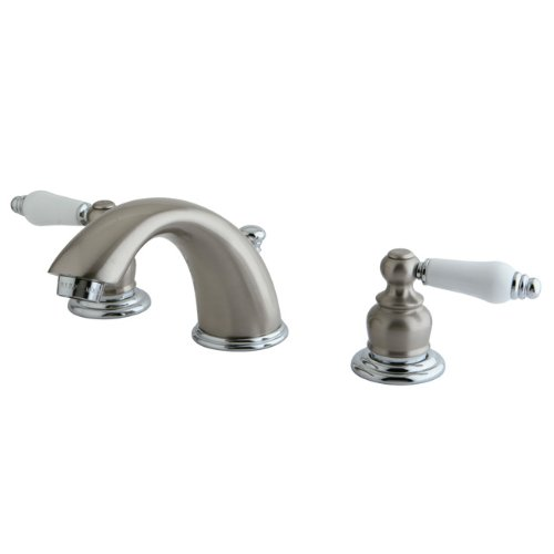 Graceful Porcelain - Kingston Brass KB977B Victorian Widespread Lavatory Faucet with Oak and Porcelain Handle, Satin Nickel and Polished Chrome