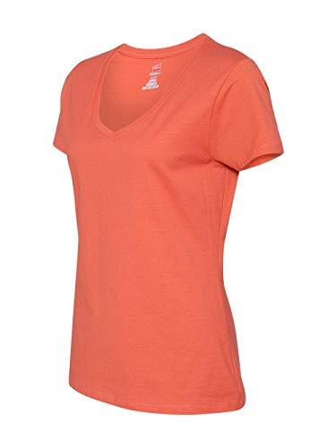Hanes Women's Nano- V-Neck T-Shirt VINTAGE ORANGE Large