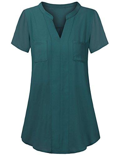 HNNATTA V Neck Blouses for Women,Henley Blouse Short Sleeve Office Ladies Business Tops for Work by HNNATTA
