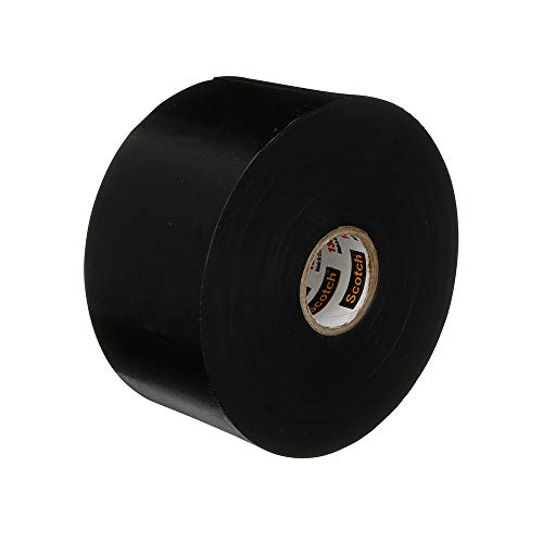 Scotch Brand Linerless Electrical Splicing Tape 130C for Wires and Cables, 2 in x 30 ft, Rubber Backing, Self Fusing, UV Resistance, Highly Conformable, Moisture Seal, Black, 1 Roll