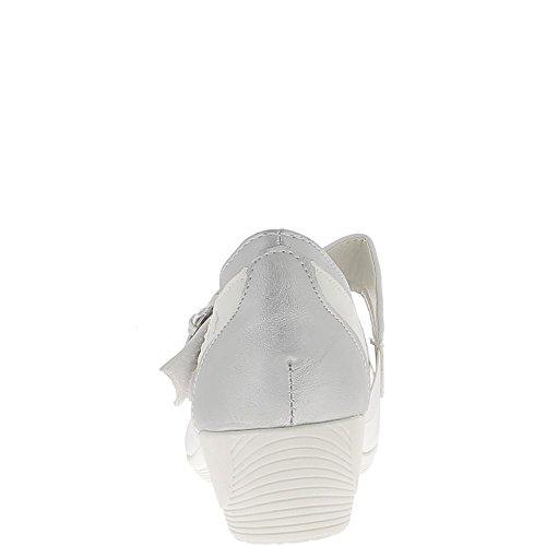 Escarpins compensés blancs et gris métal confort à large bride talon 4 cm