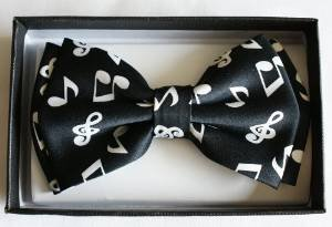Men's Unisex Wedding Party Tuxedo Black with White Musical Notes Dress Bow Tie Bowtie! Brand New in Factory Box!