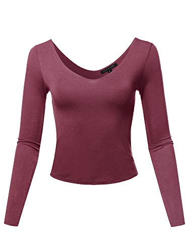 Seamless V Neck Long Sleeve Double Lined Crop Top Raisin S