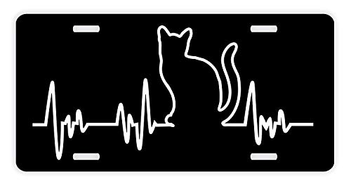 (Eletina Case Cat Remembrance Gifts for Kids Cat Gifts Women Cat Lover S Heartbeat License Plate Pawprints Cat Lover Gifts Kitten Paw Prints Rescue Cat Novelty License Plate Pinkkitten with Heartbeat)