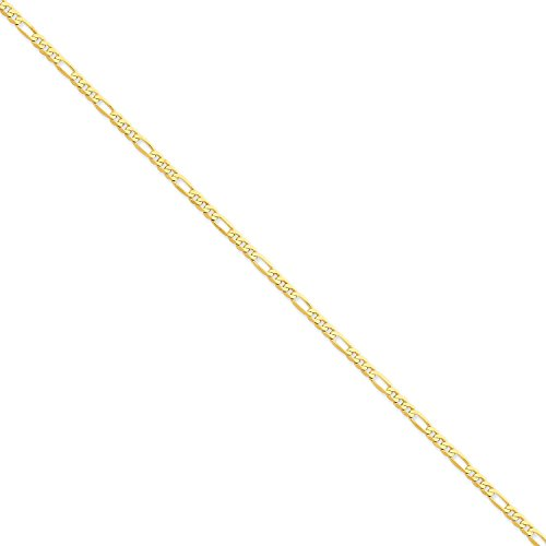 Roy Rose Jewelry 14K Yellow Gold 3mm Flat Figaro Link Chain Bracelet ~ Length 7'' (7' Figaro Chain Bracelet)