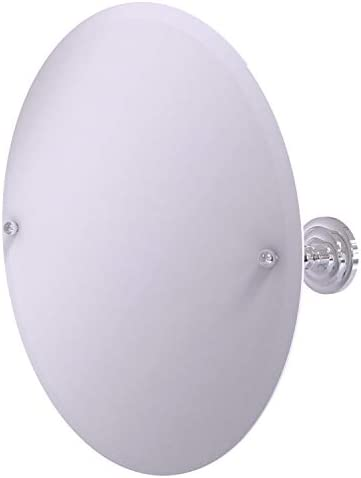 Allied Brass PQN-90 Frameless Round Tilt Beveled Edge Wall Mirror, Polished Chrome