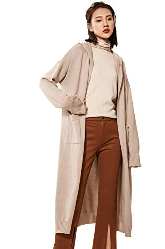 RanRui Womens Hooded Sweater Cashmere Hooded Open Front Cardigan Sweater with Pocket(One Size, Camel) (Cardigan Long Easy Cashmere)