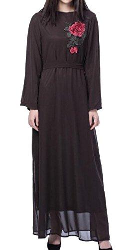 Stile Musulmano Lunga Abito Abaya Folk Marrone Ricamato Coolred Womens Manica X765q0Tw