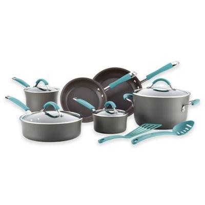 Premium 12 piezas Juego de batería de cocina (Rachael Ray exquisita porcelana dura esmalte antiadherente