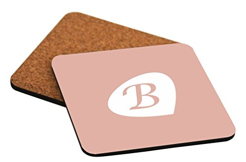 """Rikki Knight Letter """"B"""" Rosa Beige Initial Petal Leaves Design Cork Backed Hard Square Beer Coasters, 4-Inch, Brown, 2-Pack"""