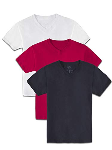 Fruit of the Loom Boys' Solid Multi-Color Short Sleeve Soft V-Neck T-Shirts, 3 Pack, White/True RED/Black, X-Large (Fruit Of The Loom Boys Tshirts)