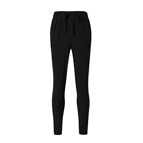 iHPH7 Women's Yoga Capris Running Pants Workout Tying Loose Casual Pencil Solid High-Waist Sports Pants Trousers (XXL,Black)
