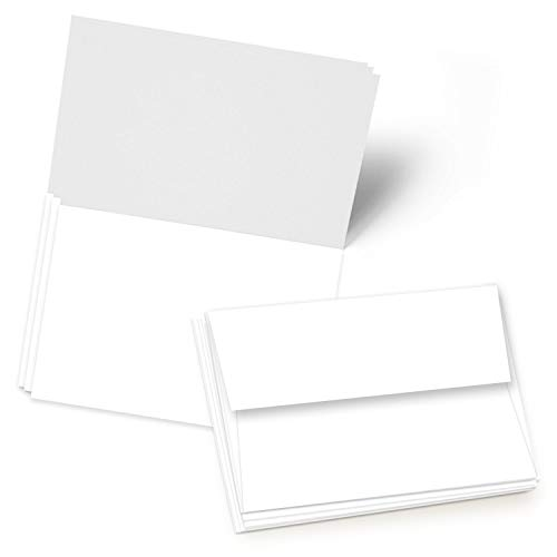 Greeting Cards Set - 5x7 Blank White Cardstock and Envelopes | Perfect Card Stock for Invitations, Bridal Shower, Birthday, Gift, Invitation Letter, Weddings | 65 Cover - Set of 50 ()
