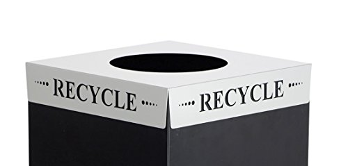 - Safco Products 2990RE Square-Fecta Recycling Trash Can Lid, Recycle (for use with Public Square Base sold separately), Silver