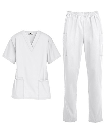 Women's Medical Uniform Scrub Set – Includes V-Neck Top and Elastic Pant (XS-3X, 14 Colors) (XX-Large, White)