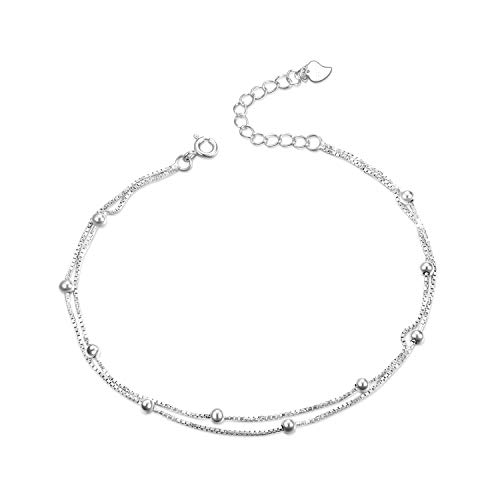 Ball Bead Bracelet Sterling Silver Double Layer Adjustable Anklet Bracelets for Women Girls