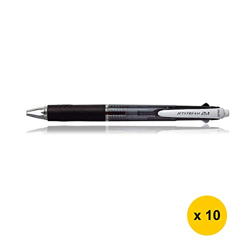 Uni Jetstream 2&1 MSXE3-500-07 0.7mm Multifunctional Pens (Pack of 10) - Black (with Sticky Notes)