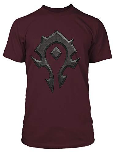 (JINX World of Warcraft Men's Horde Logo Gaming T-Shirt, Burgundy,)