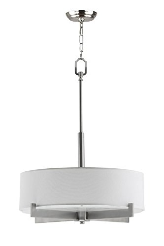 Allegro Drum Pendant Ceiling Lamp - 3 Light Fixture Brushed Nickel White Fabric Shade Frosted Glass - 84 Inch Max Height Linea di Liara LL-C134-BN (Pendant Lamp Light Collection 3)