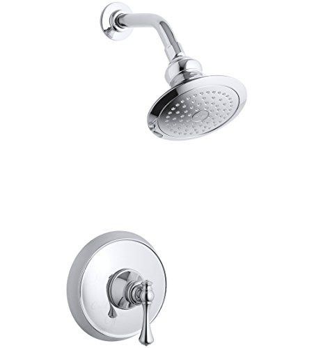 Kohler TS16114-4A-CP Revival Rite-Temp shower valve trim with traditional lever handle and 2.5 gpm showerhead