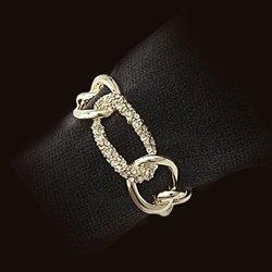 L'Objet Gold Plated Chain Napkin Rings, Swarovski Crystals Link, Set/4