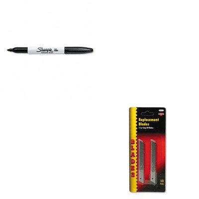 Quickpoint Snap Off Straight Handle (KITCOS091473SAN30001 - Value Kit - Cosco QuickPoint Snap-Off Straight Handle Retractable Knife Replacement Blade (COS091473) and Sharpie Permanent Marker (SAN30001))