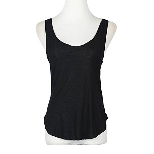 Hotkey Clearance Summer Women Lady Sleeveless V -Neck Candy Vest Loose T-Shirt Perfection Women's Essential Casual Camisole Fashion Tank Tops (Black)
