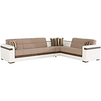 ISTIKBAL Multifunctional Furniture Living Room SECTIONAL SOFA SLEEPER Platin Mustard MOON Collection