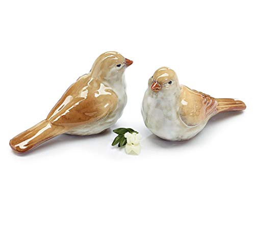 Bird Natural Brown Tan 6 x 4 Glossy Ceramic Collectible Figurines Set of 2 (Bird Collectibles)