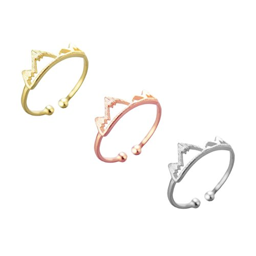 JJTZX Mountain Ring Set - The Mountains are Calling Inspiration Gift Adjustable Size Finger Ring Mountain Climber Gift (3 Color ()