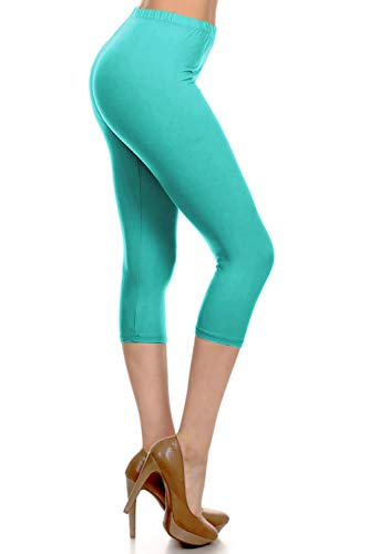 NCPRX128-Jade Capri Solid Leggings, Plus Size
