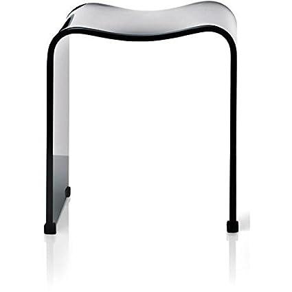 DWBA Backless Shower Bench Stool Chair For Bathroom Shower Seat, Acrylic  Shiny (Black)
