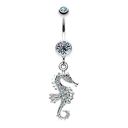 14 GA Sparkling Seahorse Dangle Belly Button Ring 316L Surgical Stainless Steel Body Piercing Jewelry For Women and Men Davana Enterprises (Multiple Colors) (14GA Aqua) (Belly Button Rings Dangle Horse)